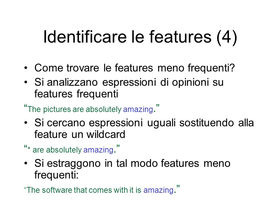 Identificare le features (4)