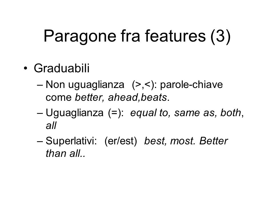 Paragone fra features (3)