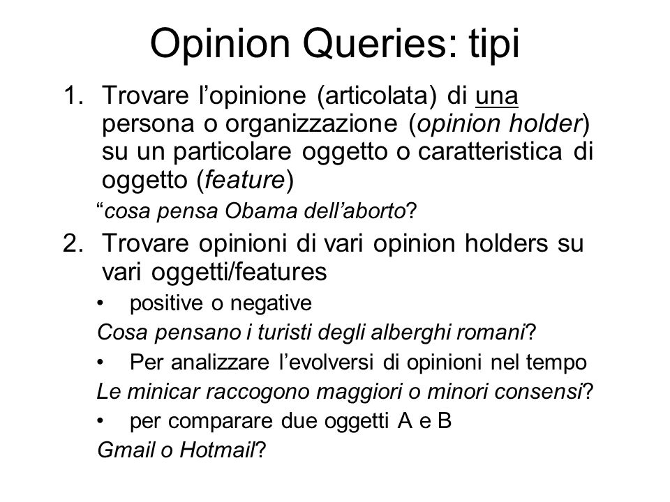 Opinion Queries: tipi