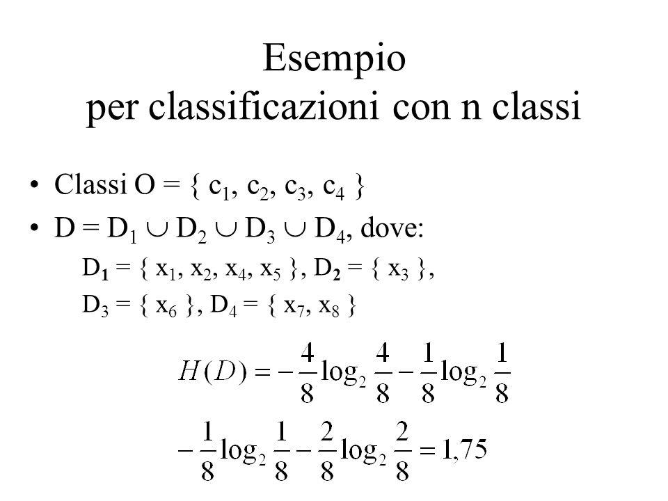 Esempio per classificazioni con n classi