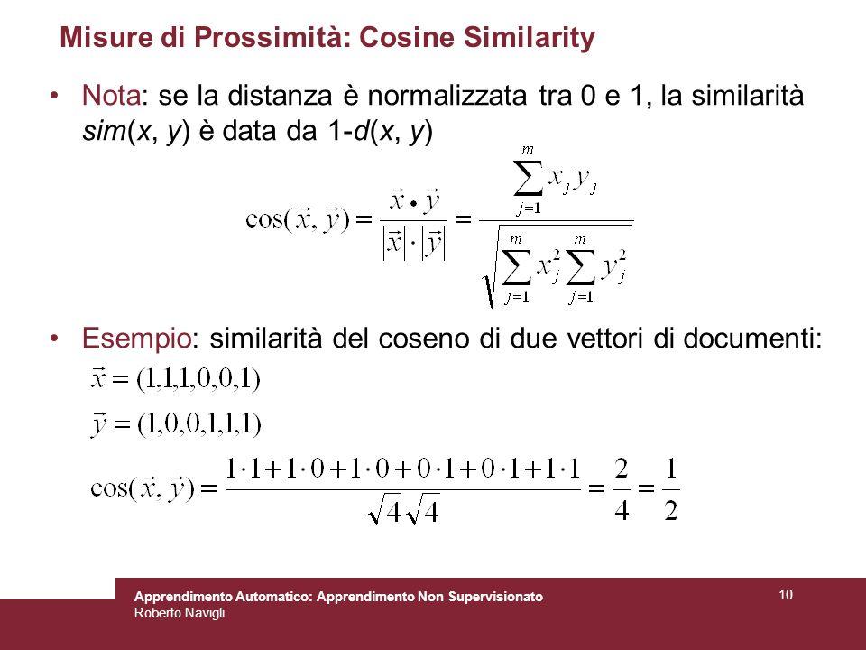 Misure di Prossimità: Cosine Similarity