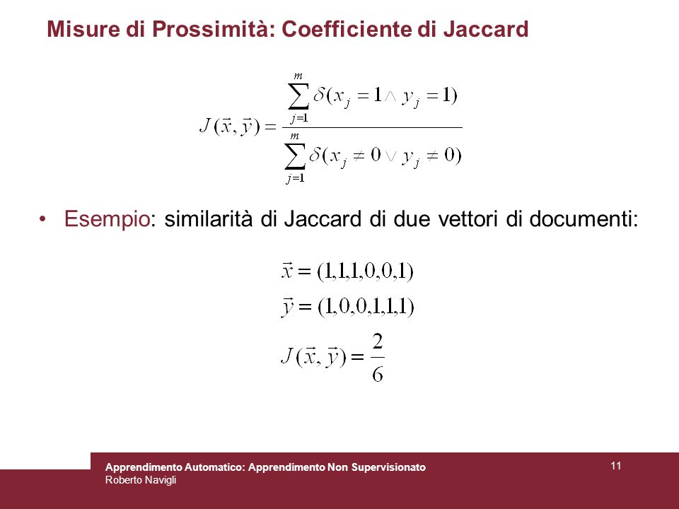 Misure di Prossimità: Coefficiente di Jaccard