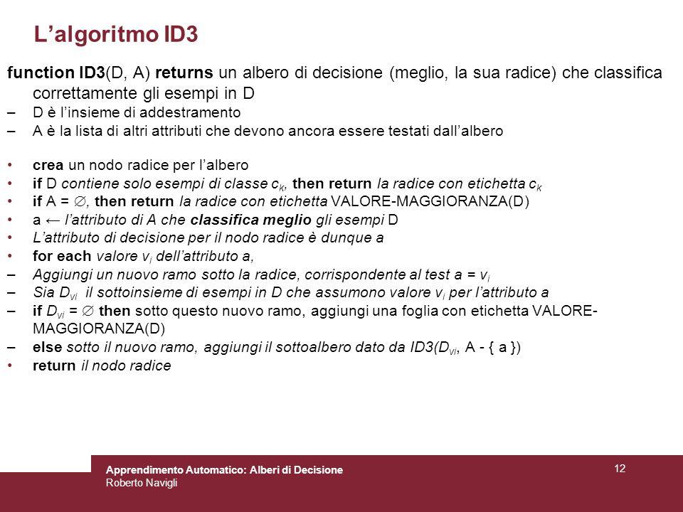L'algoritmo ID3 function ID3(D, A) returns un albero di decisione (meglio, la sua radice) che classifica correttamente gli esempi in D.