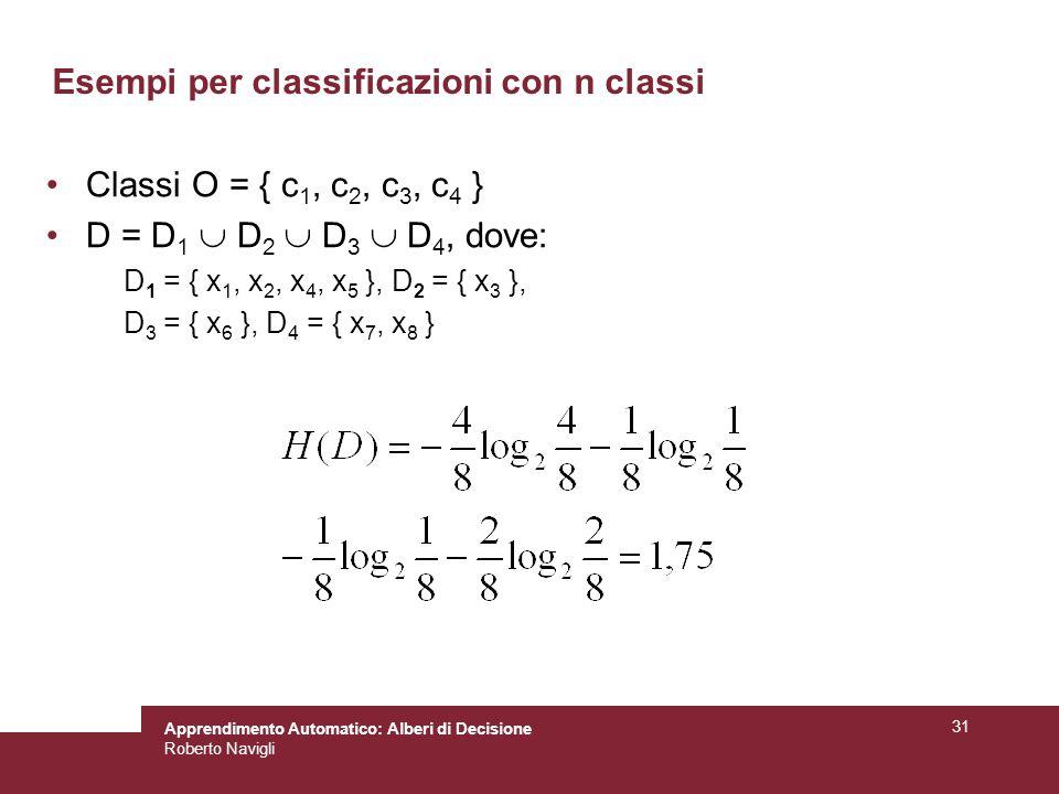 Esempi per classificazioni con n classi