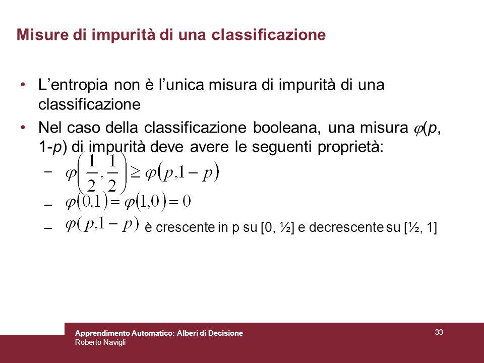 Misure di impurità di una classificazione