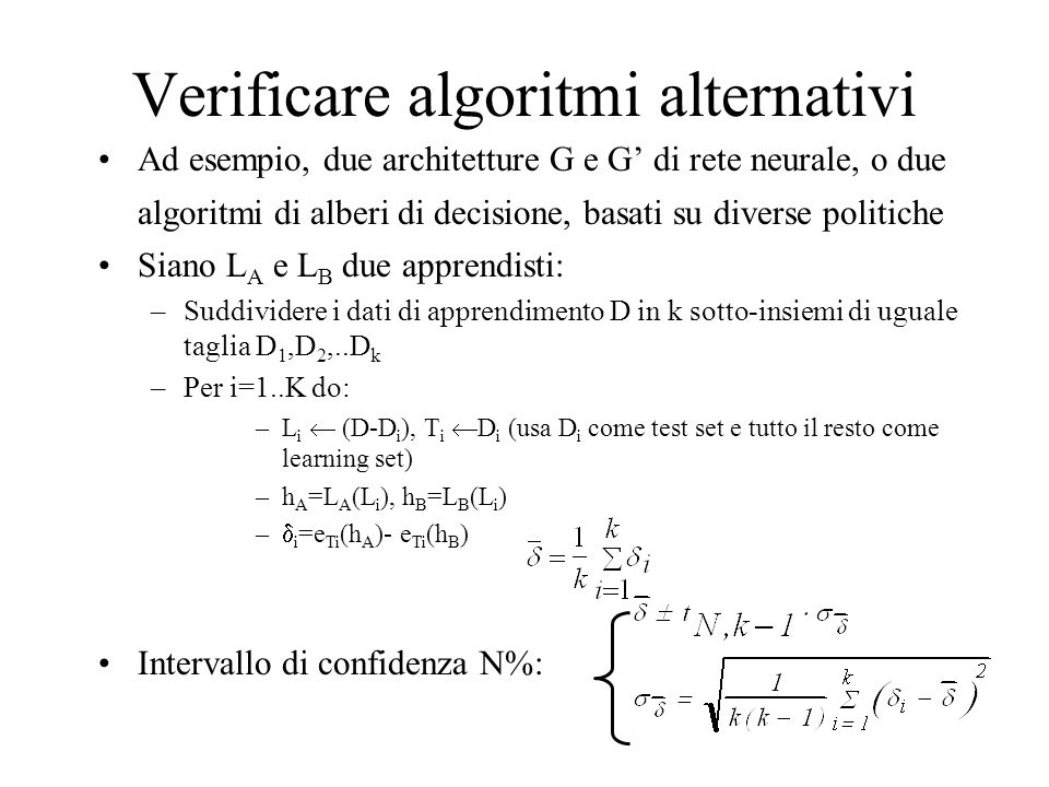 Verificare algoritmi alternativi