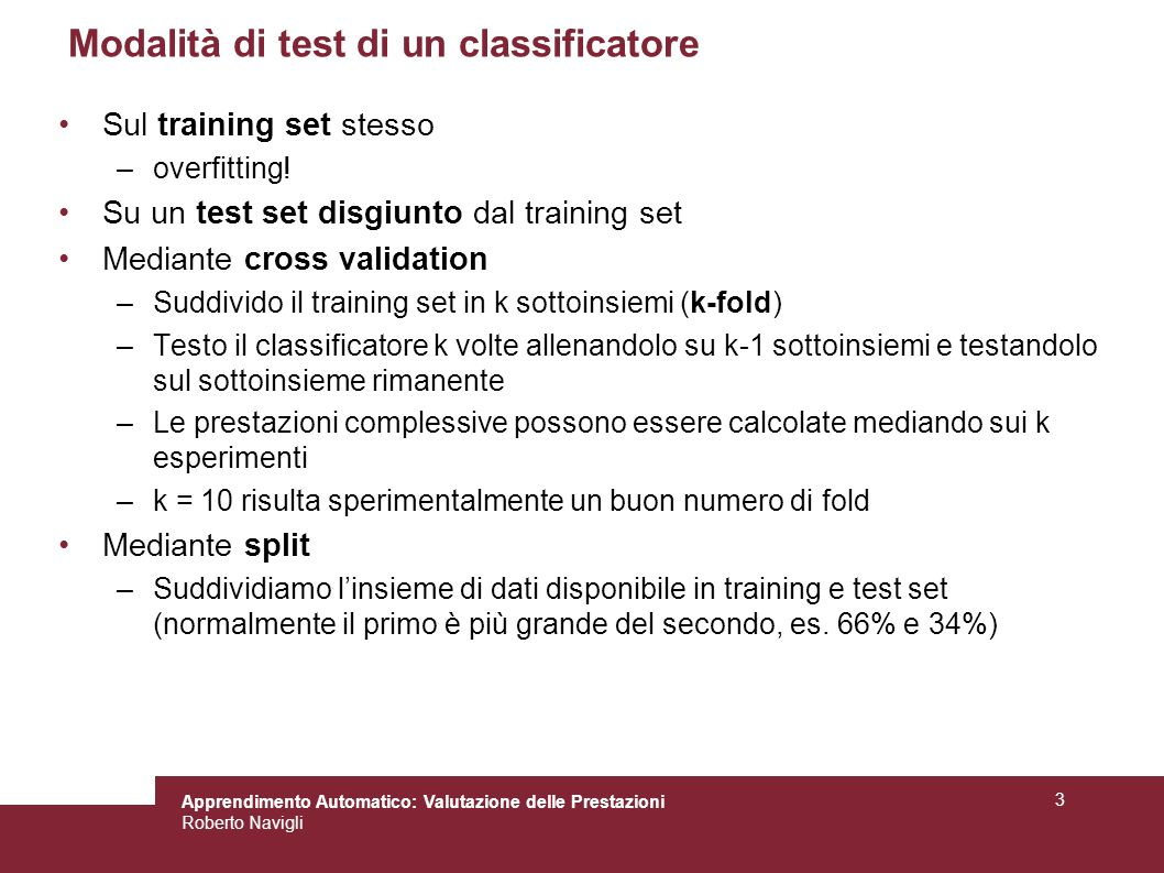 Modalità di test di un classificatore
