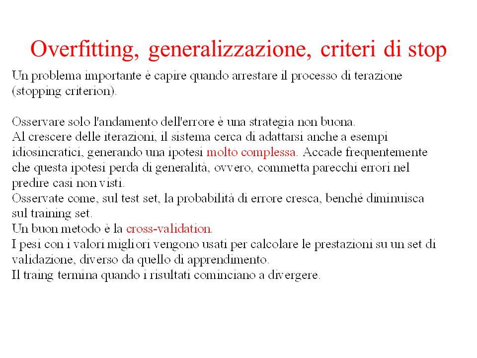 Overfitting, generalizzazione, criteri di stop