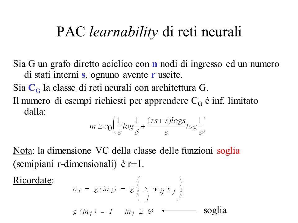PAC learnability di reti neurali