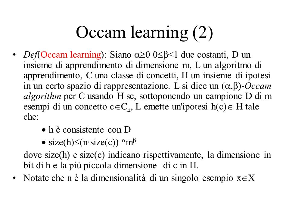 Occam learning (2)