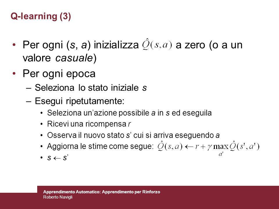 Per ogni (s, a) inizializza a zero (o a un valore casuale)
