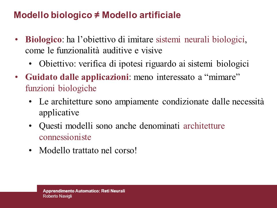 Modello biologico ≠ Modello artificiale