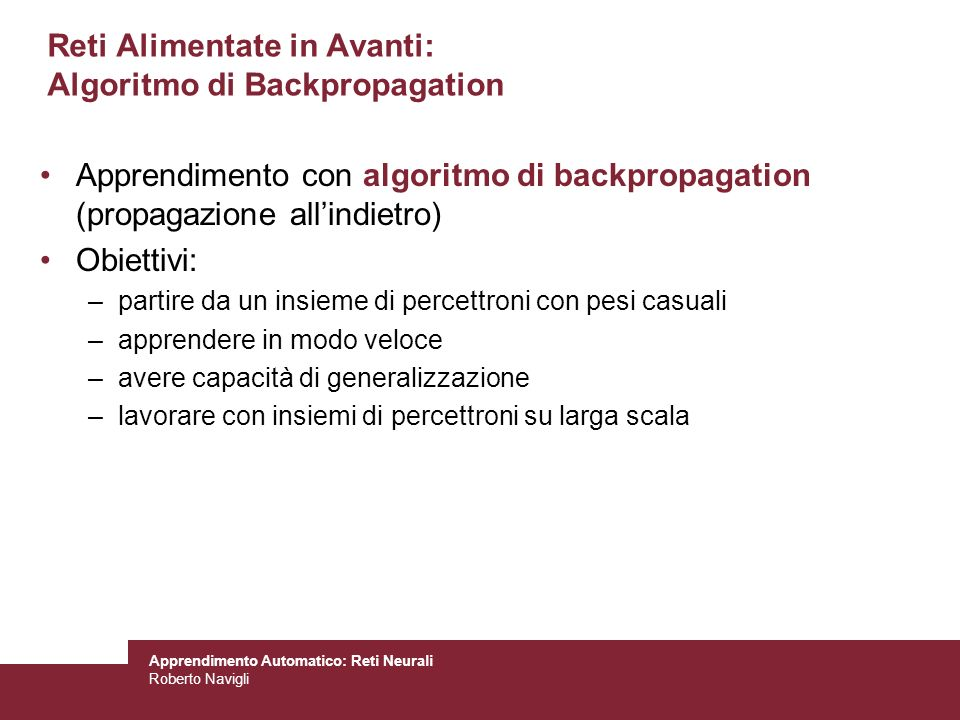 Reti Alimentate in Avanti: Algoritmo di Backpropagation