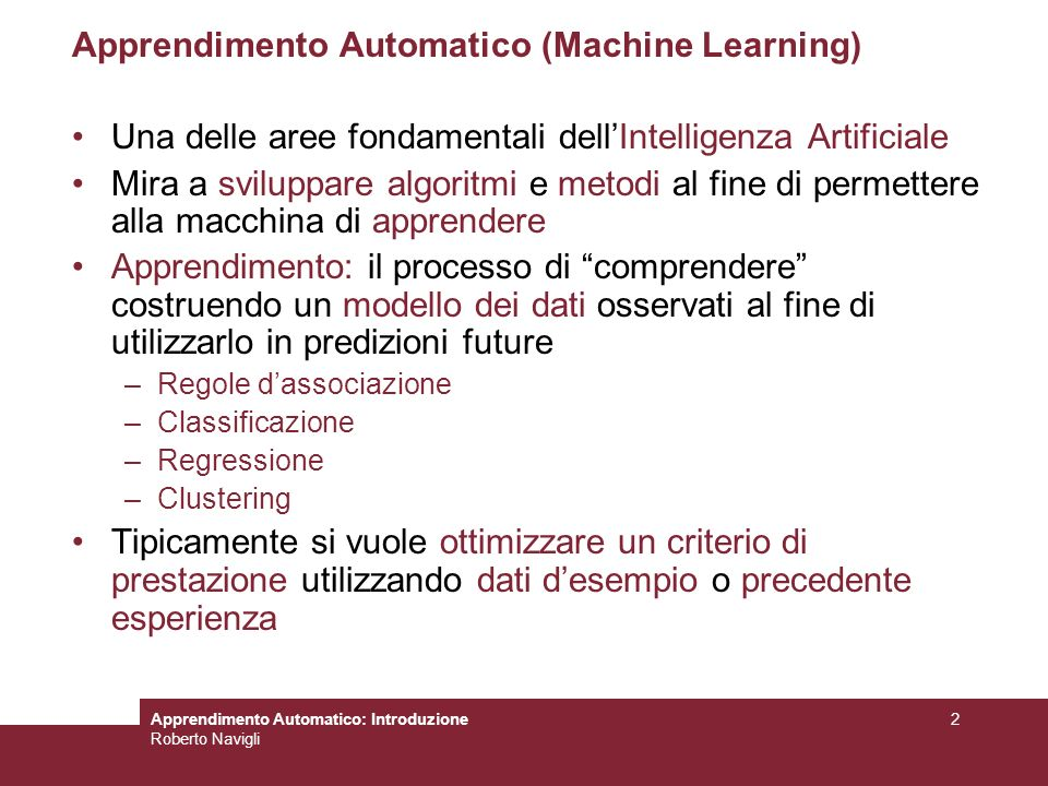 Apprendimento Automatico (Machine Learning)