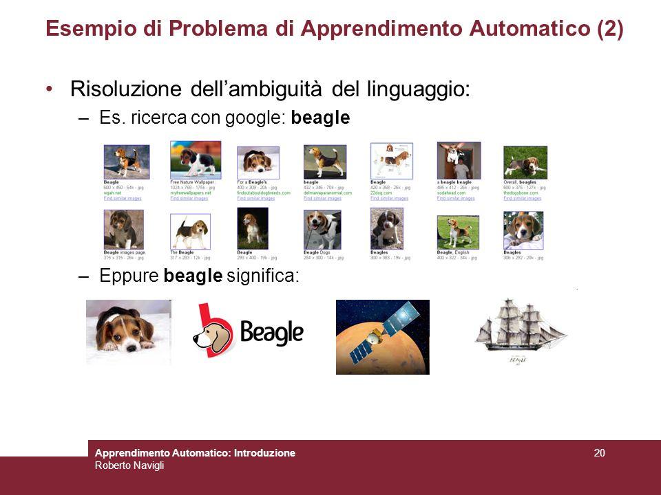 Esempio di Problema di Apprendimento Automatico (2)
