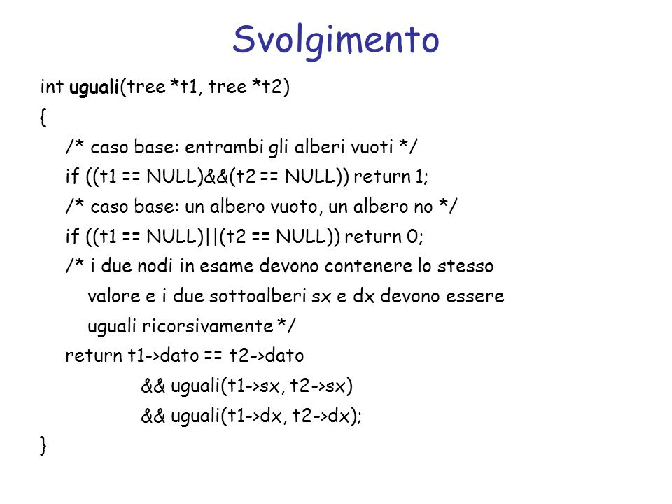 Svolgimento int uguali(tree *t1, tree *t2) {
