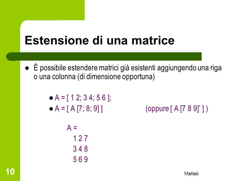Estensione di una matrice
