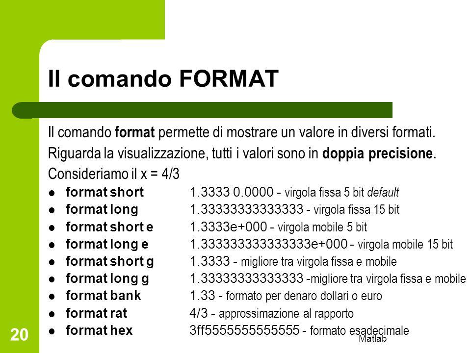 Il comando FORMAT Il comando format permette di mostrare un valore in diversi formati.