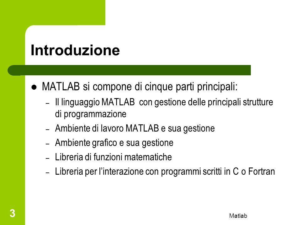 Introduzione MATLAB si compone di cinque parti principali: