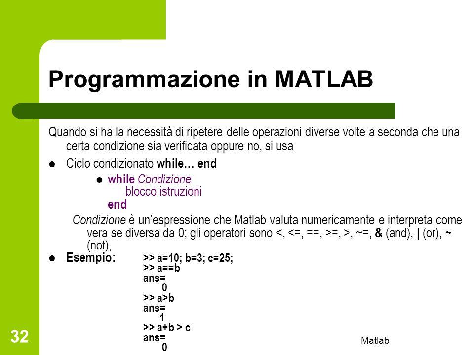 Programmazione in MATLAB