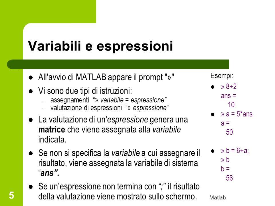 Variabili e espressioni
