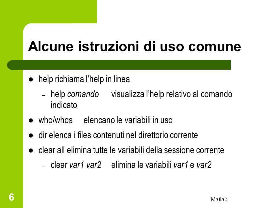 Alcune istruzioni di uso comune