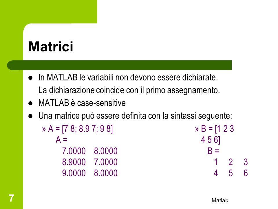 Matrici In MATLAB le variabili non devono essere dichiarate.