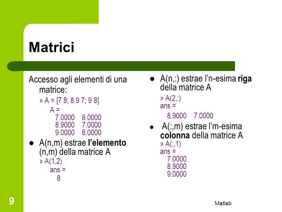 Matrici Accesso agli elementi di una matrice: