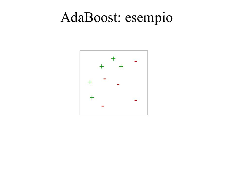 AdaBoost: esempio + - + + - + - + - -