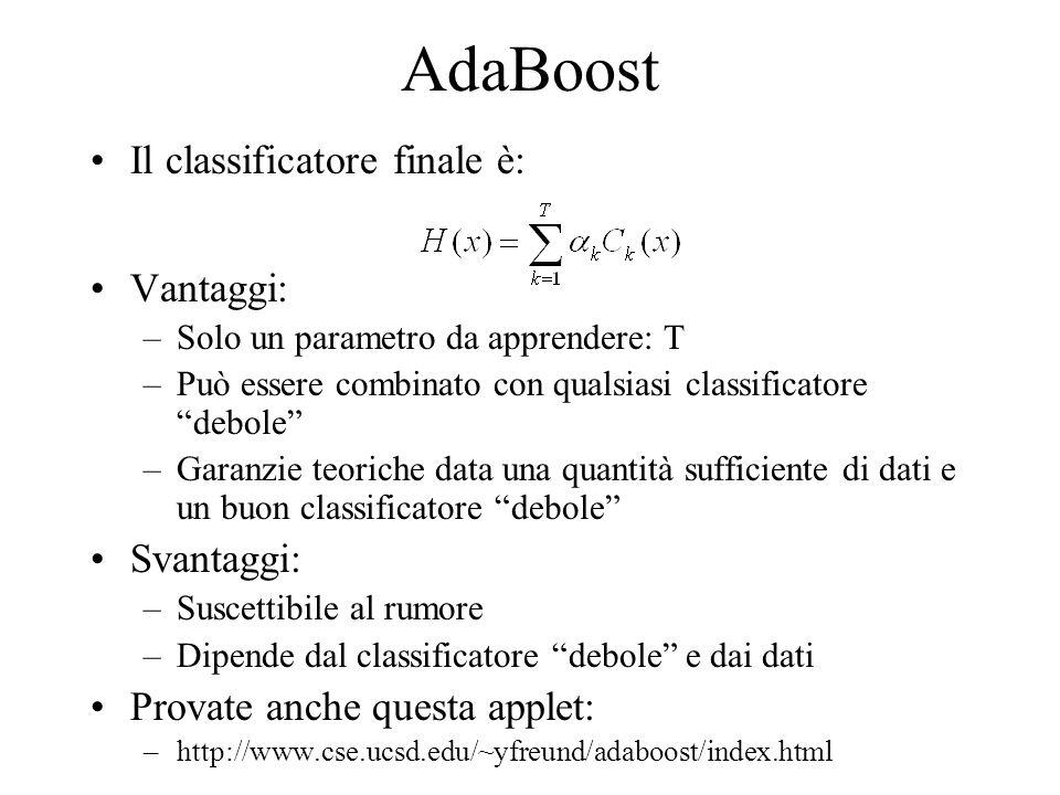 AdaBoost Il classificatore finale è: Vantaggi: Svantaggi: