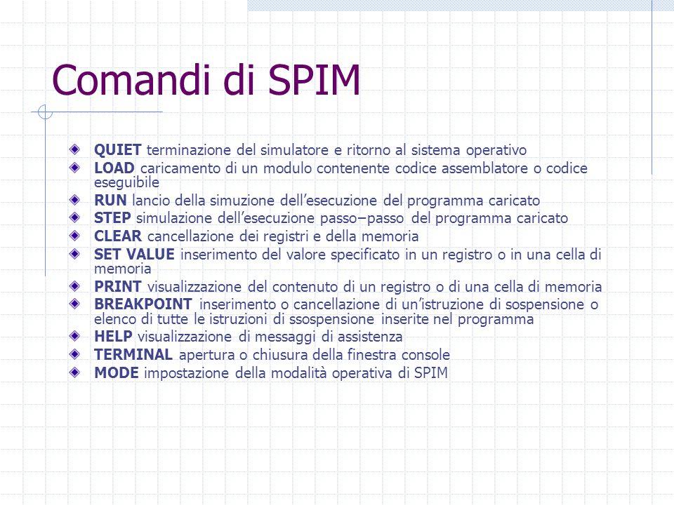Comandi di SPIM QUIET terminazione del simulatore e ritorno al sistema operativo.