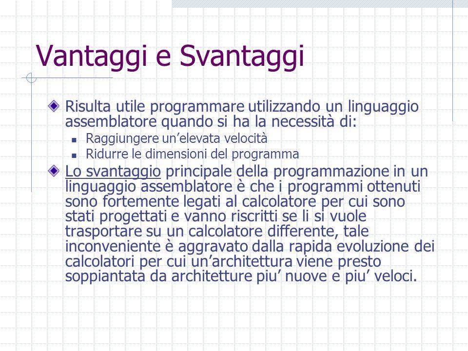 Vantaggi e Svantaggi Risulta utile programmare utilizzando un linguaggio assemblatore quando si ha la necessità di:
