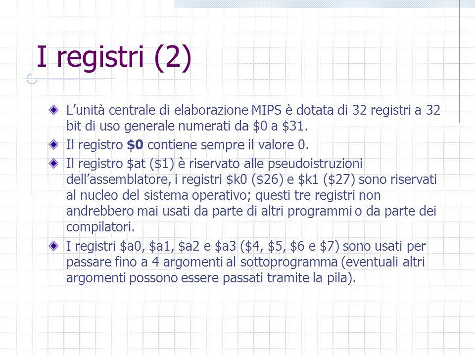 I registri (2) L'unità centrale di elaborazione MIPS è dotata di 32 registri a 32 bit di uso generale numerati da $0 a $31.