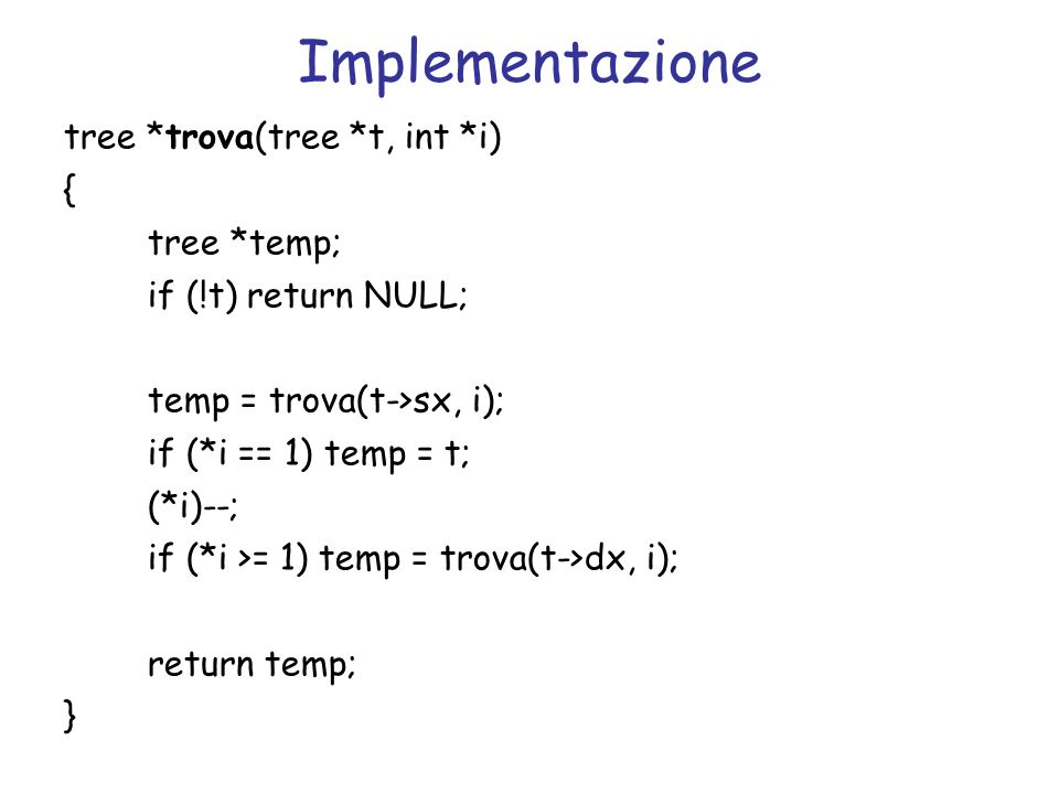 Implementazione tree *trova(tree *t, int *i) { tree *temp;