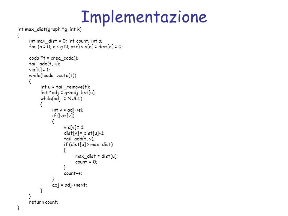 Implementazione int max_dist(graph *g, int k) {