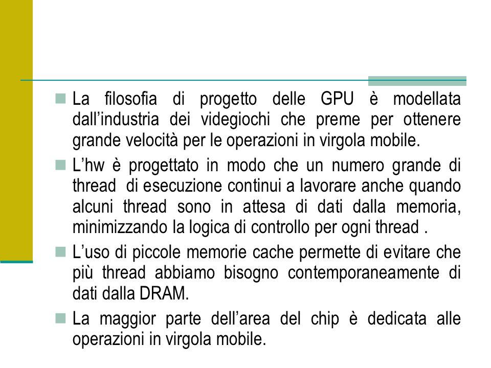 La filosofia di progetto delle GPU è modellata dall'industria dei videgiochi che preme per ottenere grande velocità per le operazioni in virgola mobile.