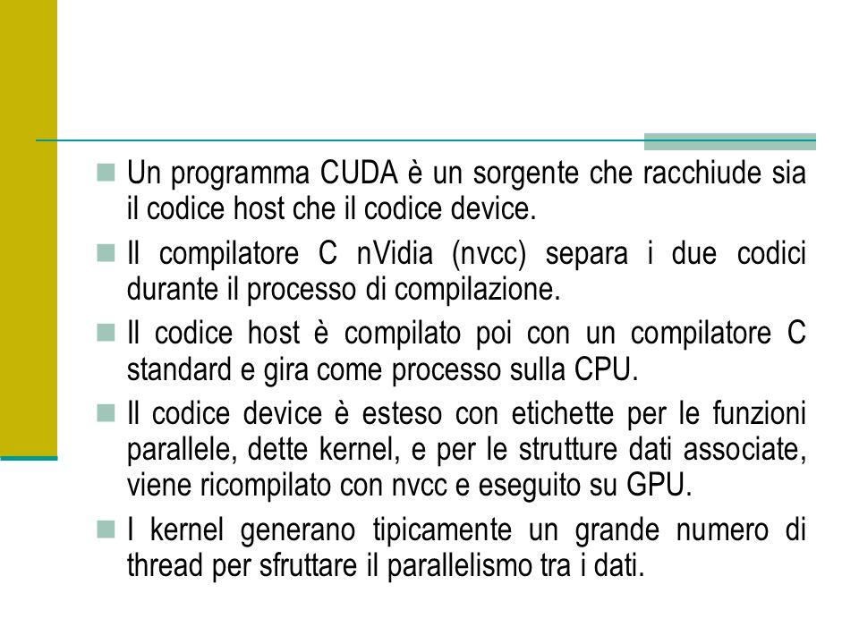 Un programma CUDA è un sorgente che racchiude sia il codice host che il codice device.