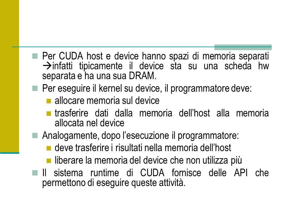 Per CUDA host e device hanno spazi di memoria separati infatti tipicamente il device sta su una scheda hw separata e ha una sua DRAM.