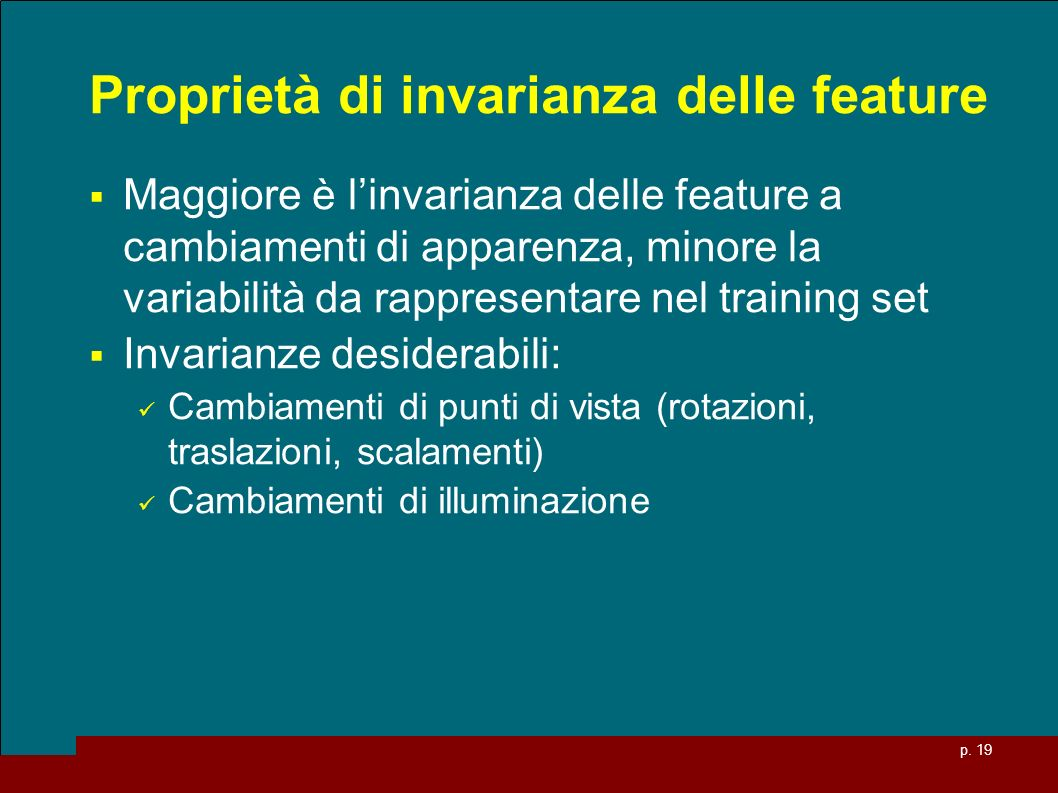 Proprietà di invarianza delle feature