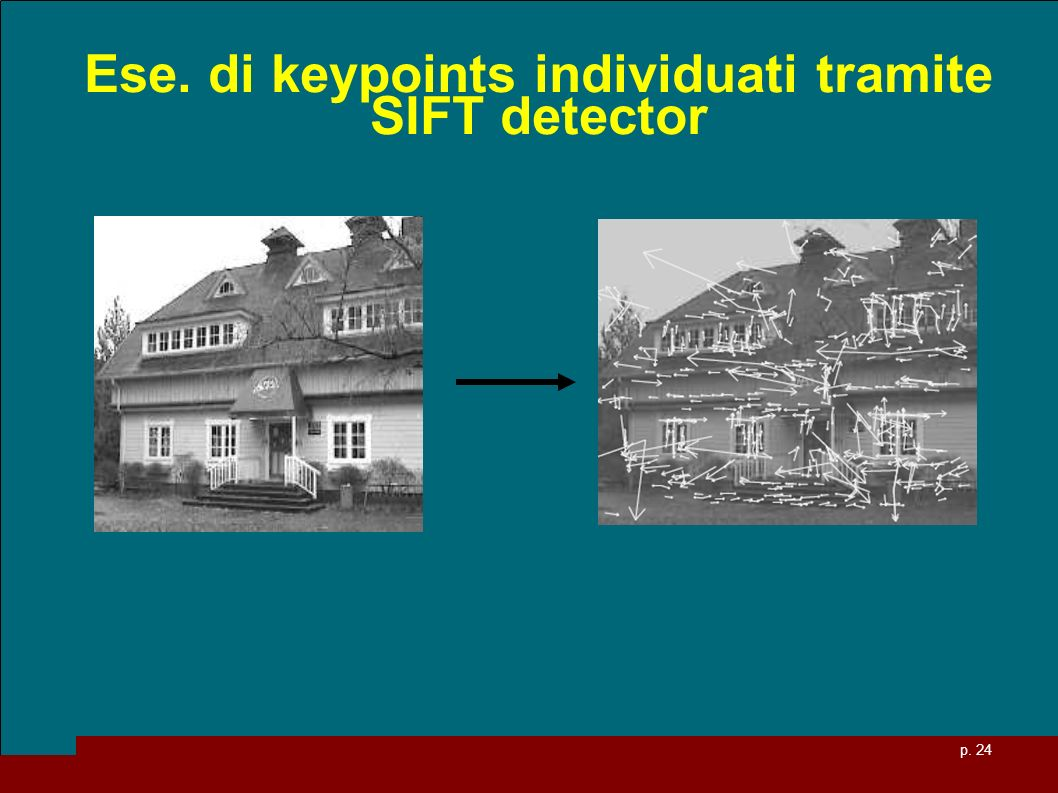Ese. di keypoints individuati tramite SIFT detector