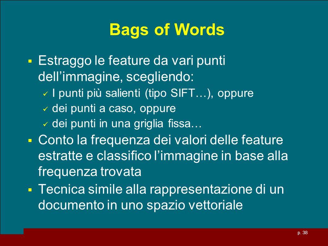 Bags of Words Estraggo le feature da vari punti dell'immagine, scegliendo: I punti più salienti (tipo SIFT…), oppure.
