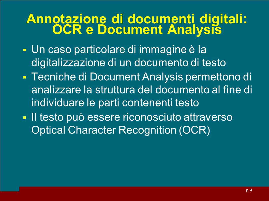 Annotazione di documenti digitali: OCR e Document Analysis