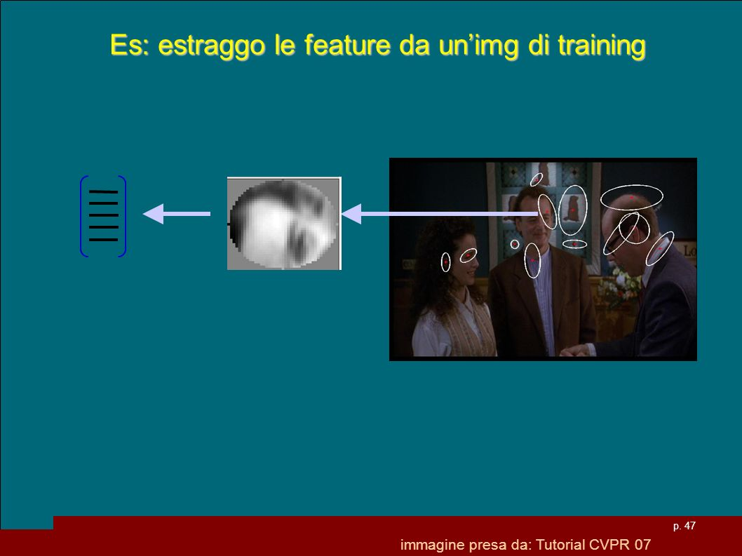 Es: estraggo le feature da un'img di training