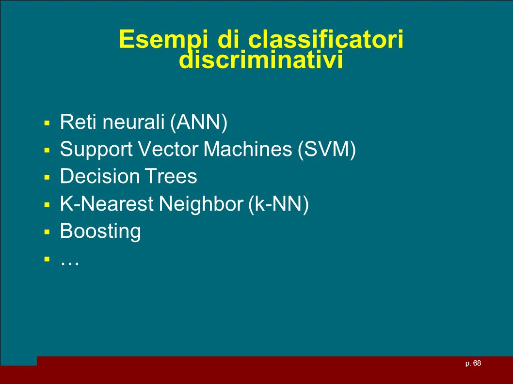 Esempi di classificatori discriminativi