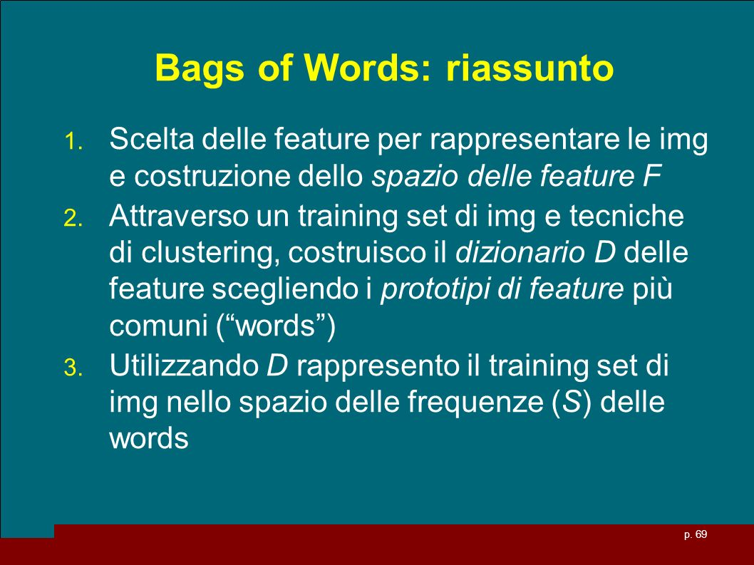 Bags of Words: riassunto