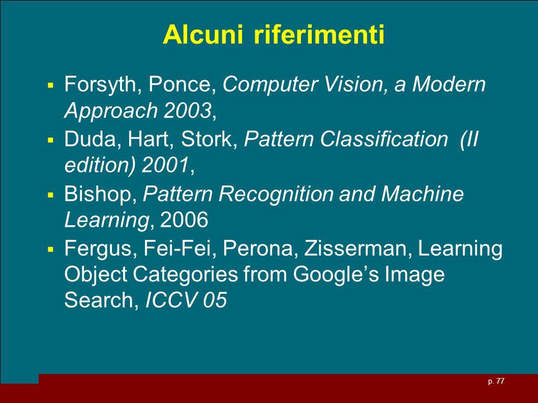 Alcuni riferimenti Forsyth, Ponce, Computer Vision, a Modern Approach 2003, Duda, Hart, Stork, Pattern Classification (II edition) 2001,