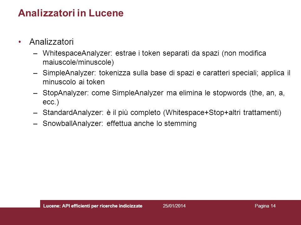 Analizzatori in Lucene