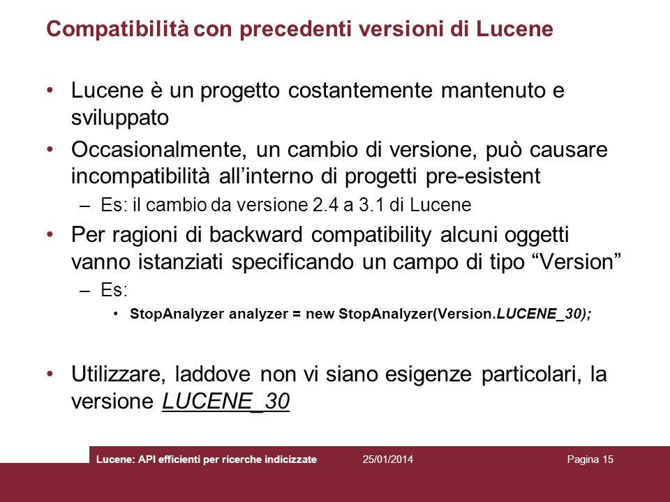 Compatibilità con precedenti versioni di Lucene