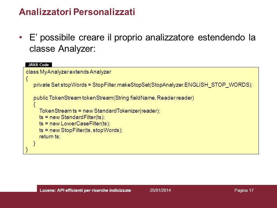 Analizzatori Personalizzati