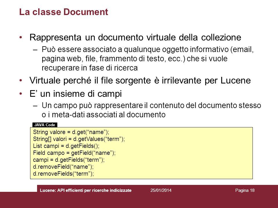 Rappresenta un documento virtuale della collezione